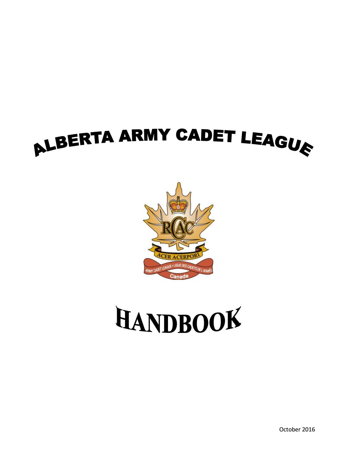 Alberta Army Cadet League Handbook by Alberta Army Cadet
