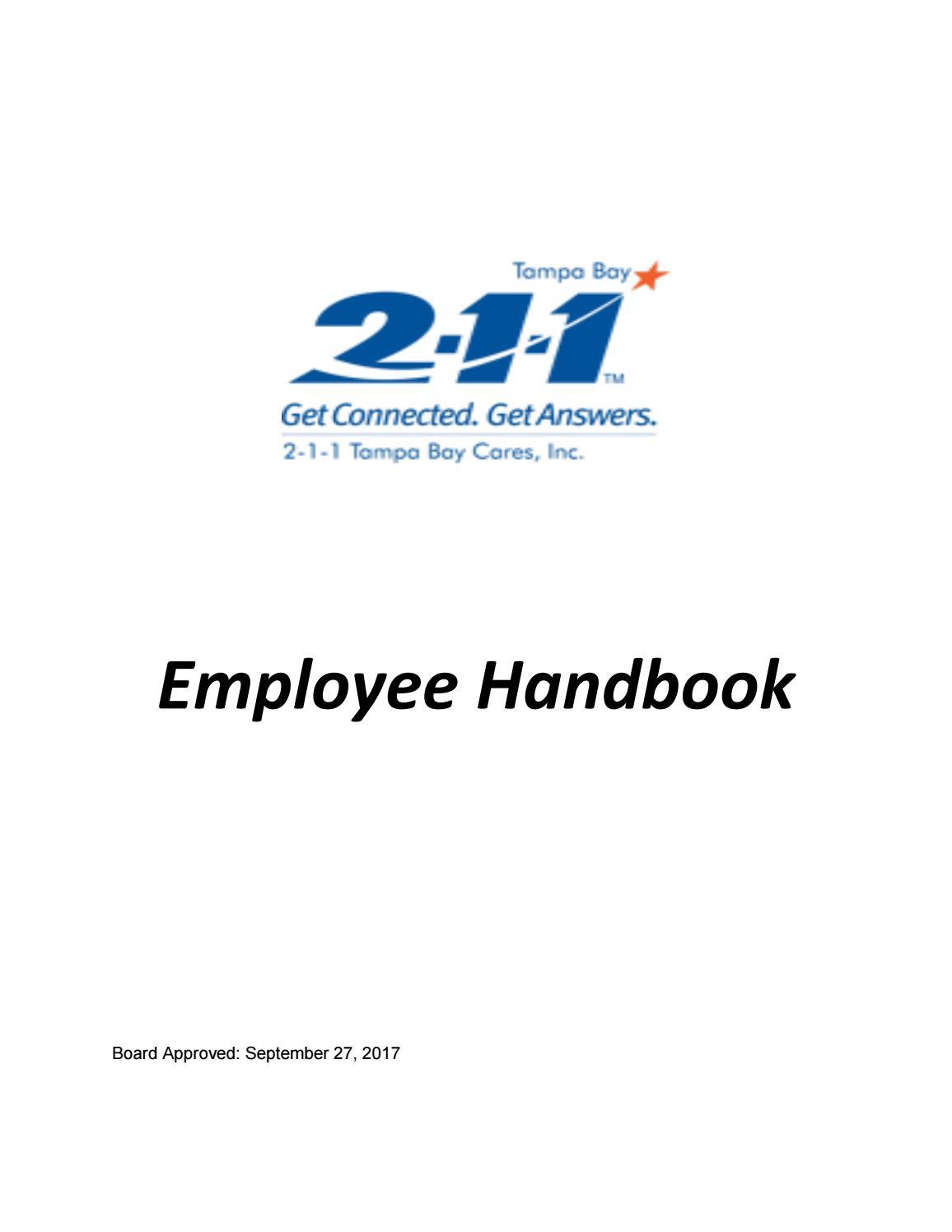 211 TBC Employee Handbook Update October 2017 by Edward