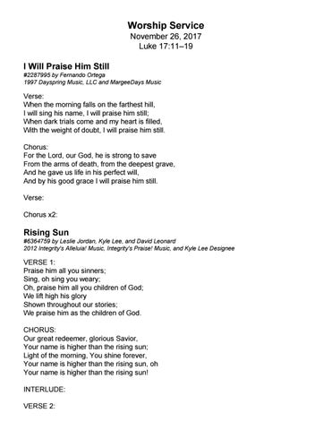 From The Rising Of The Sun Lyrics : rising, lyrics, Lyrics, 11.26.17, Liturgy, Trinity, Presbyterian, Church, Issuu