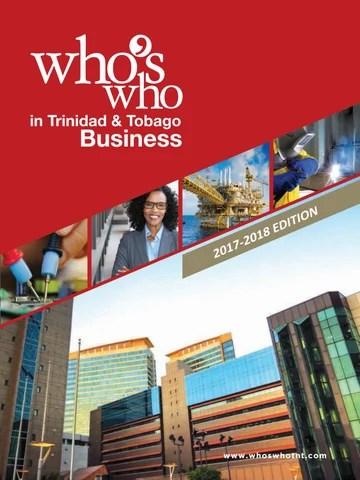 Whos Who in Trinidad  Tobago Business 20172018 by Prestige Business Publications Ltd  Issuu
