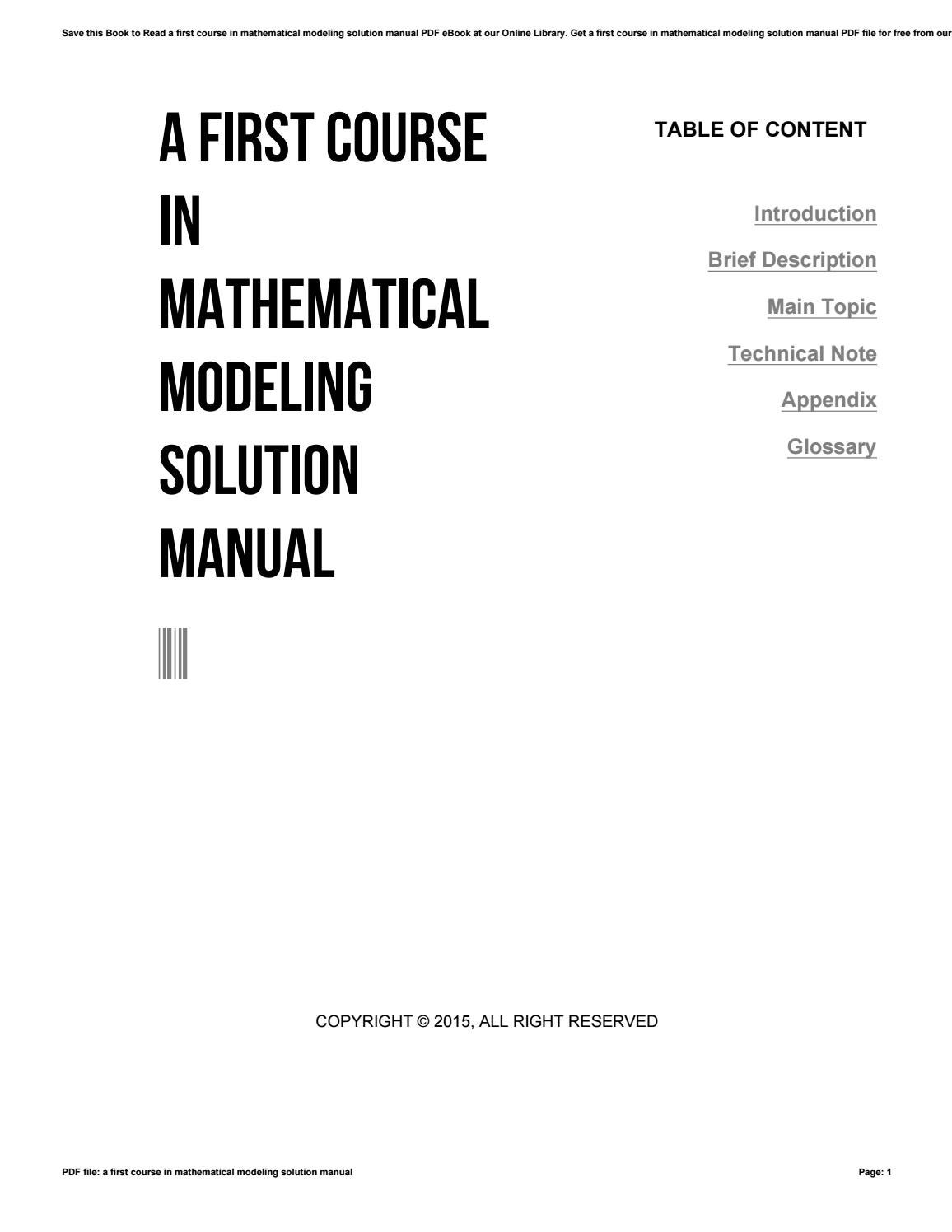 A first course in mathematical modeling solution manual by