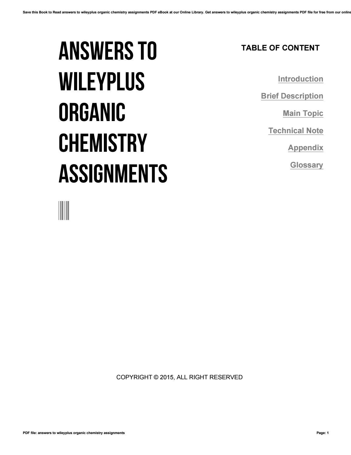 Answers to wileyplus organic chemistry assignments by