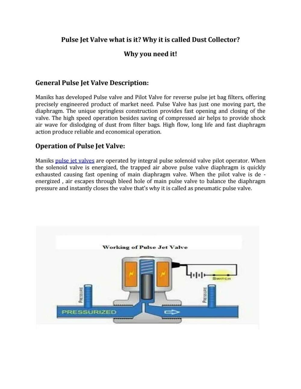 medium resolution of quality pulse valve manufactured by maniks