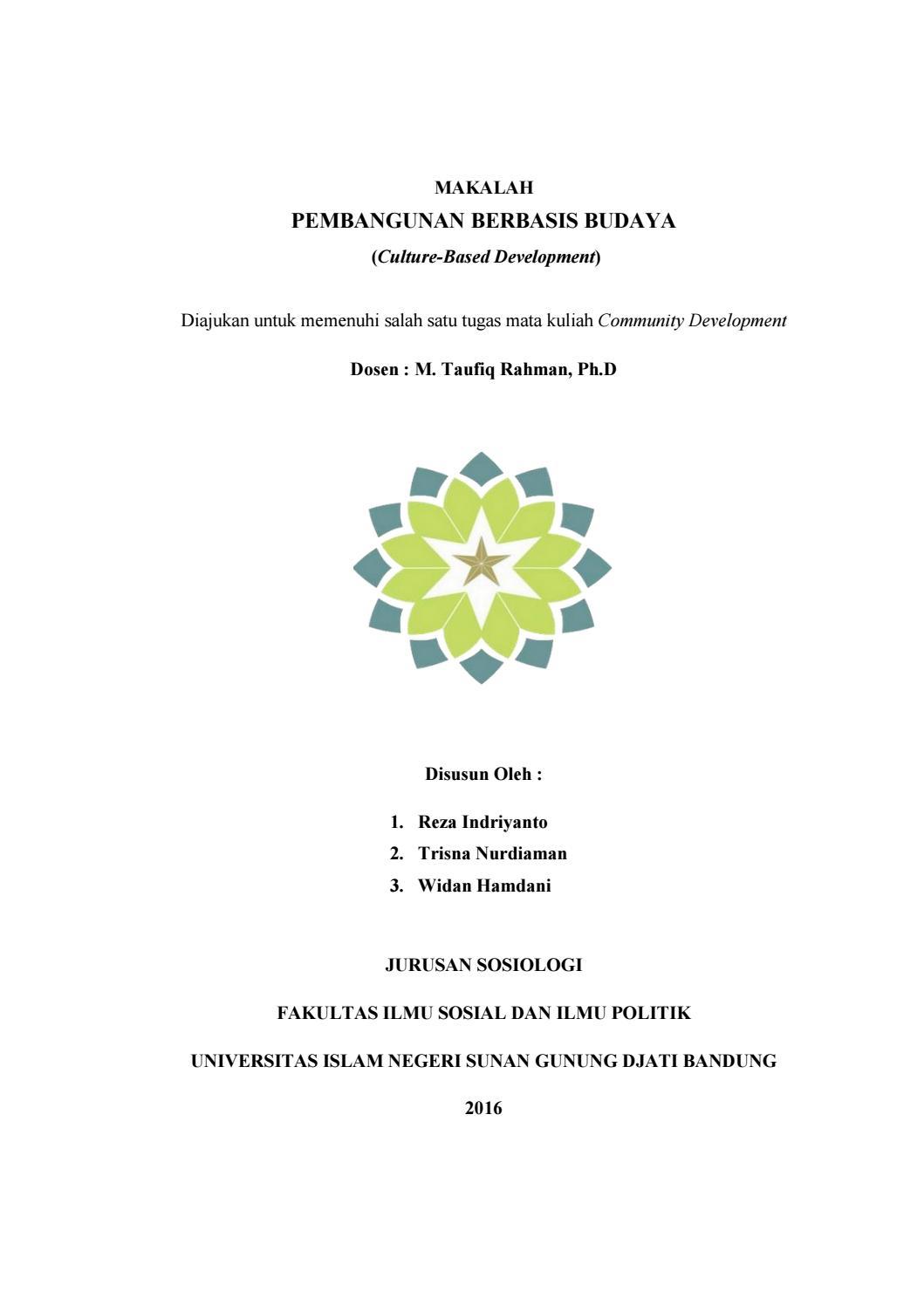 13/06/2016· contoh makalah sosiologi pembangunan. Makalah pembangunan berbasis budaya by Trisna Nurdiaman