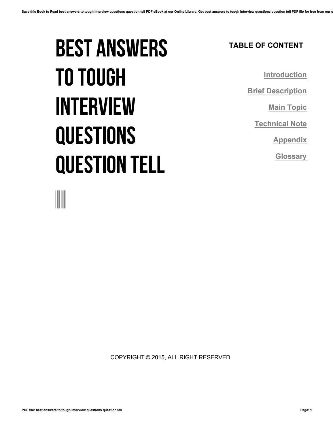 Best answers to tough interview questions question tell by
