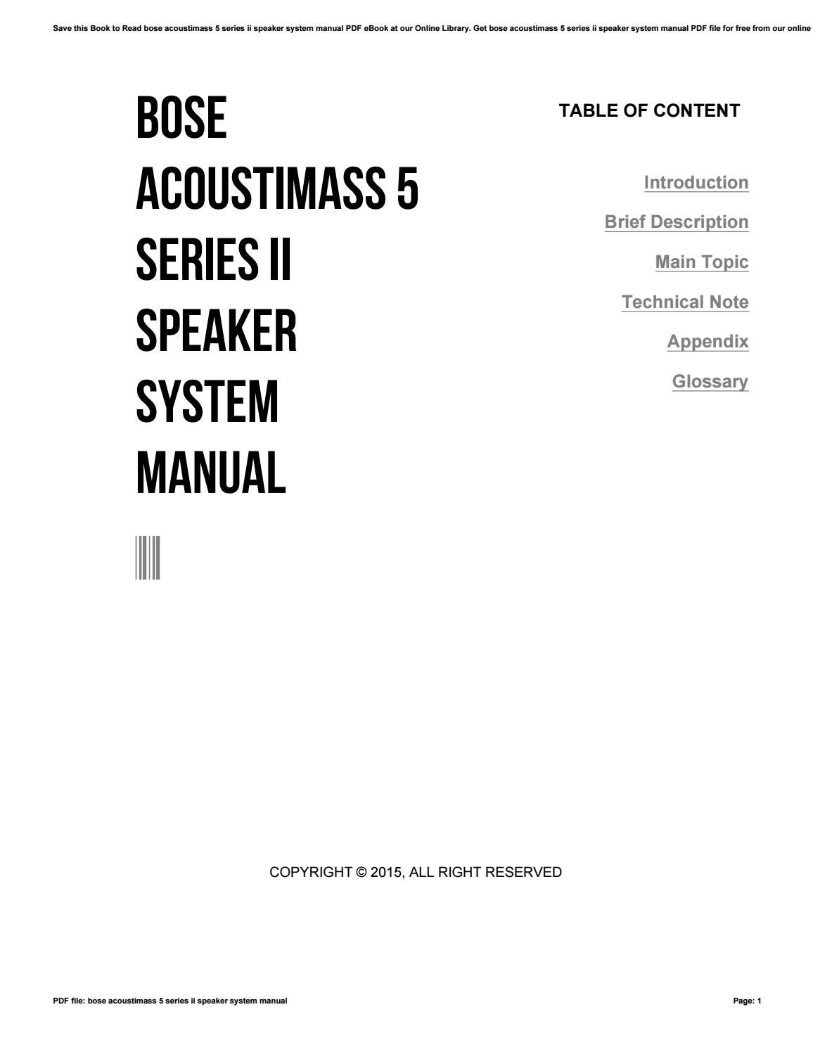 Bose acoustimass 5 series ii speaker system manual by ty11