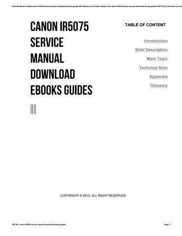 Canon ir5075 service manual download ebooks guides by