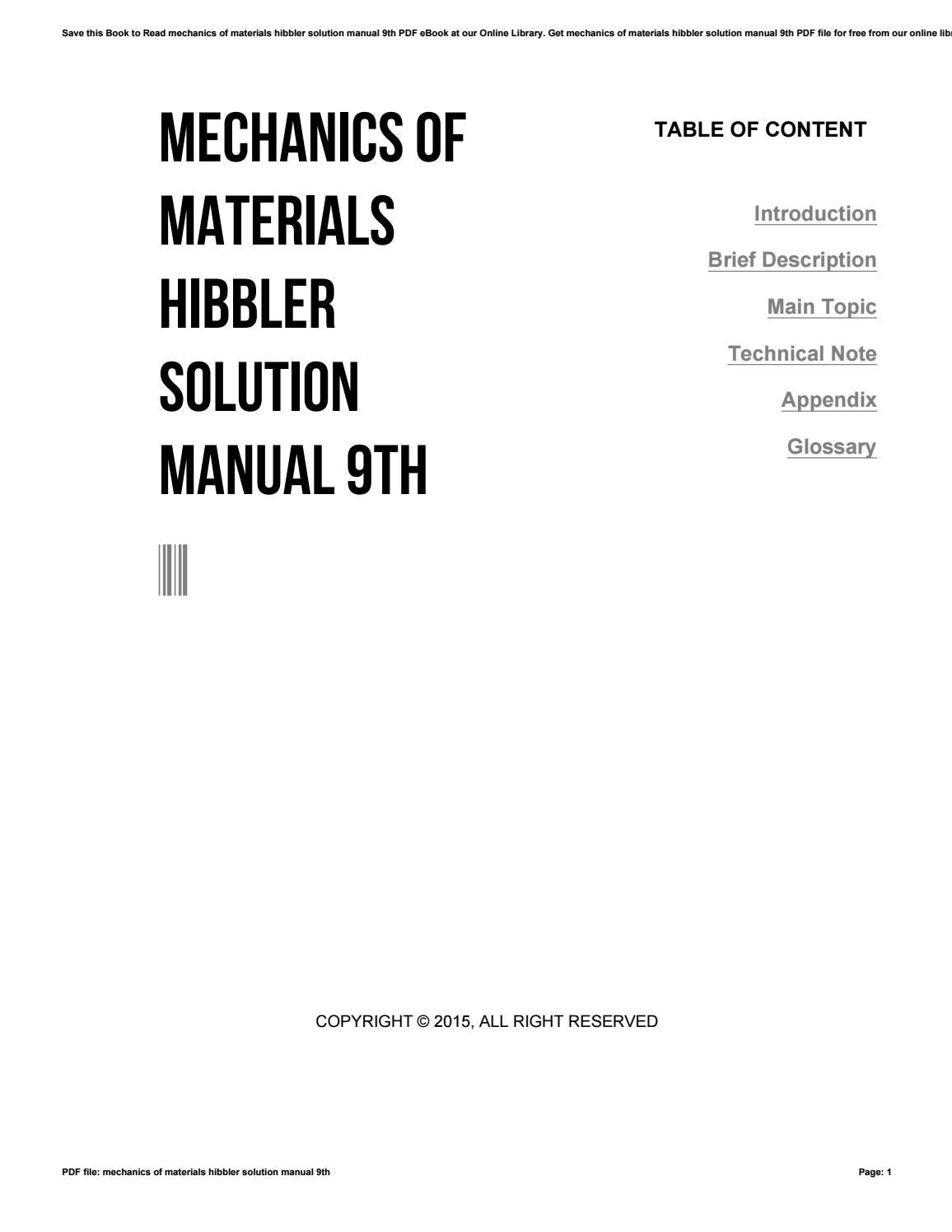 Mechanics of materials hibbler solution manual 9th by
