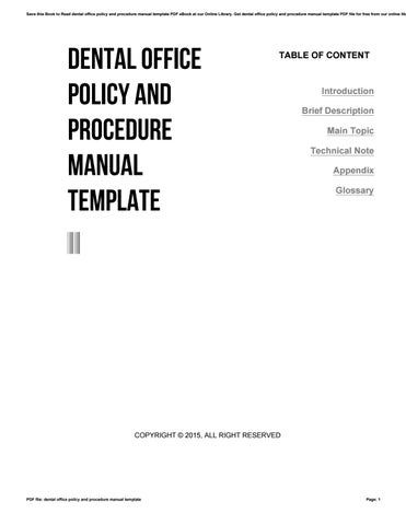 Dental office policy and procedure manual template by