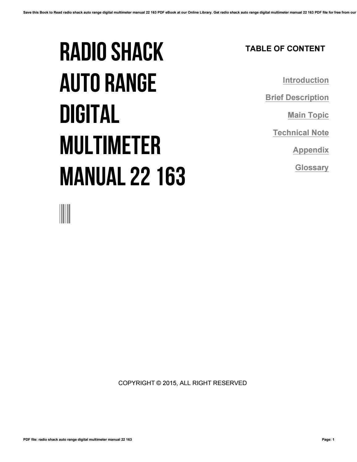 Radio shack auto range digital multimeter manual 22 163 by
