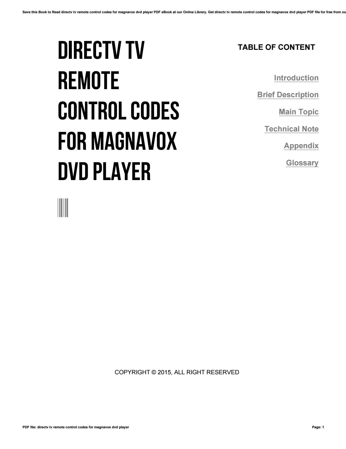 Directv tv remote control codes for magnavox dvd player by