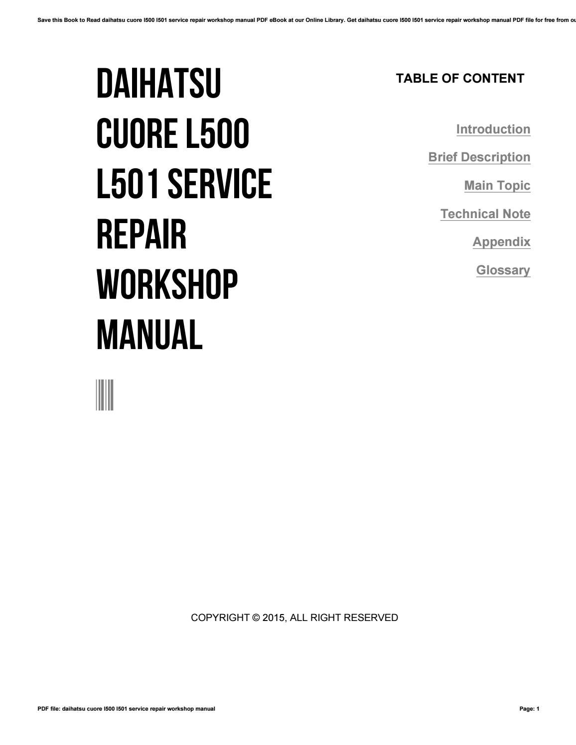 Daihatsu cuore l500 l501 service repair workshop manual by
