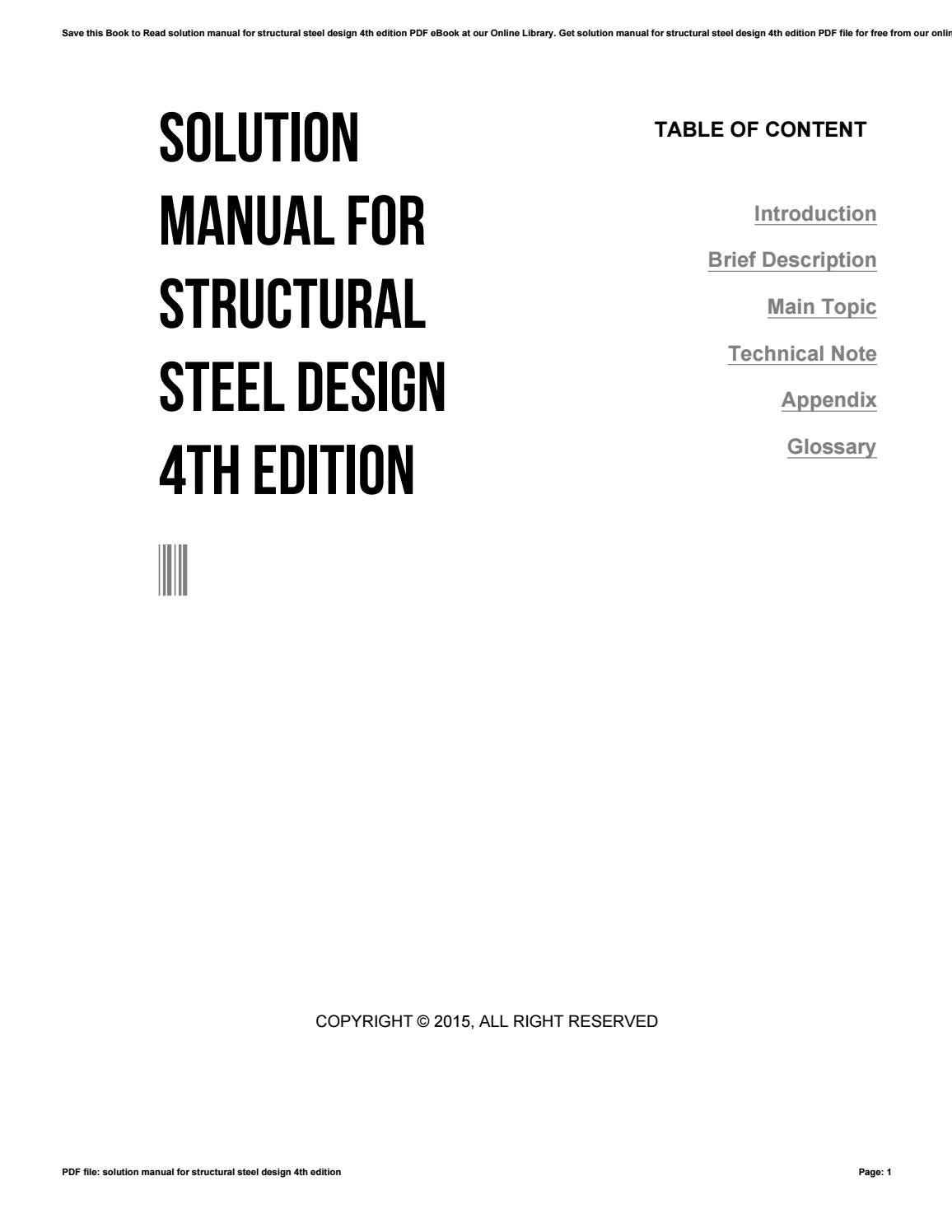 Solution manual for structural steel design 4th edition by