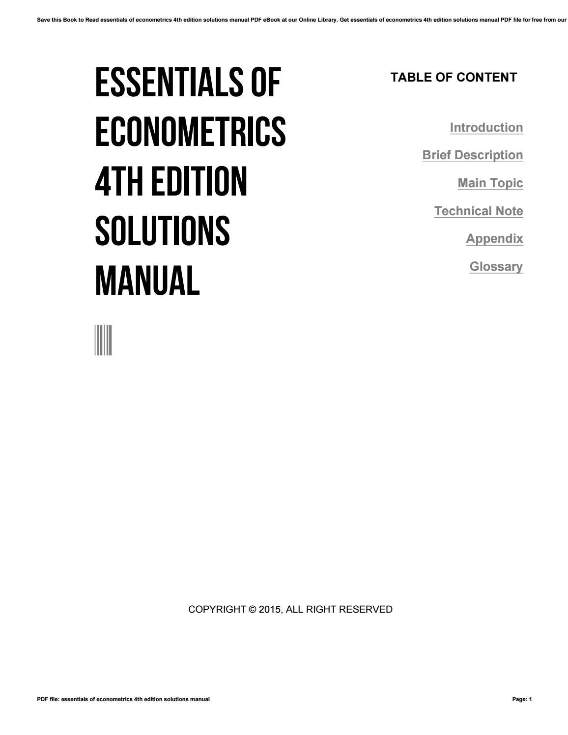 Essentials of econometrics 4th edition solutions manual by