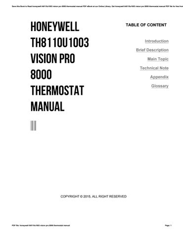 Honeywell th8110u1003 vision pro 8000 thermostat manual by