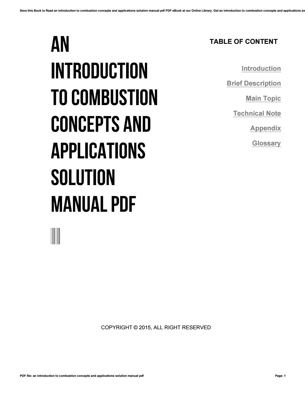 An introduction to combustion concepts and applications