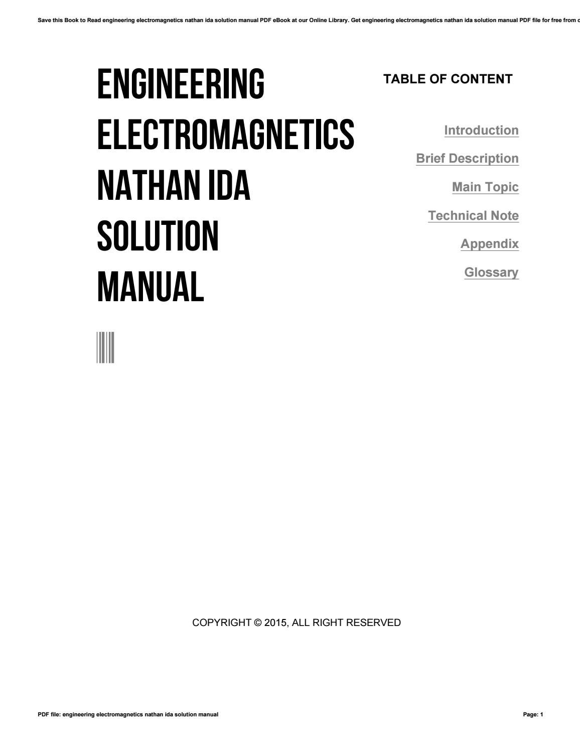 Engineering electromagnetics nathan ida solution manual by
