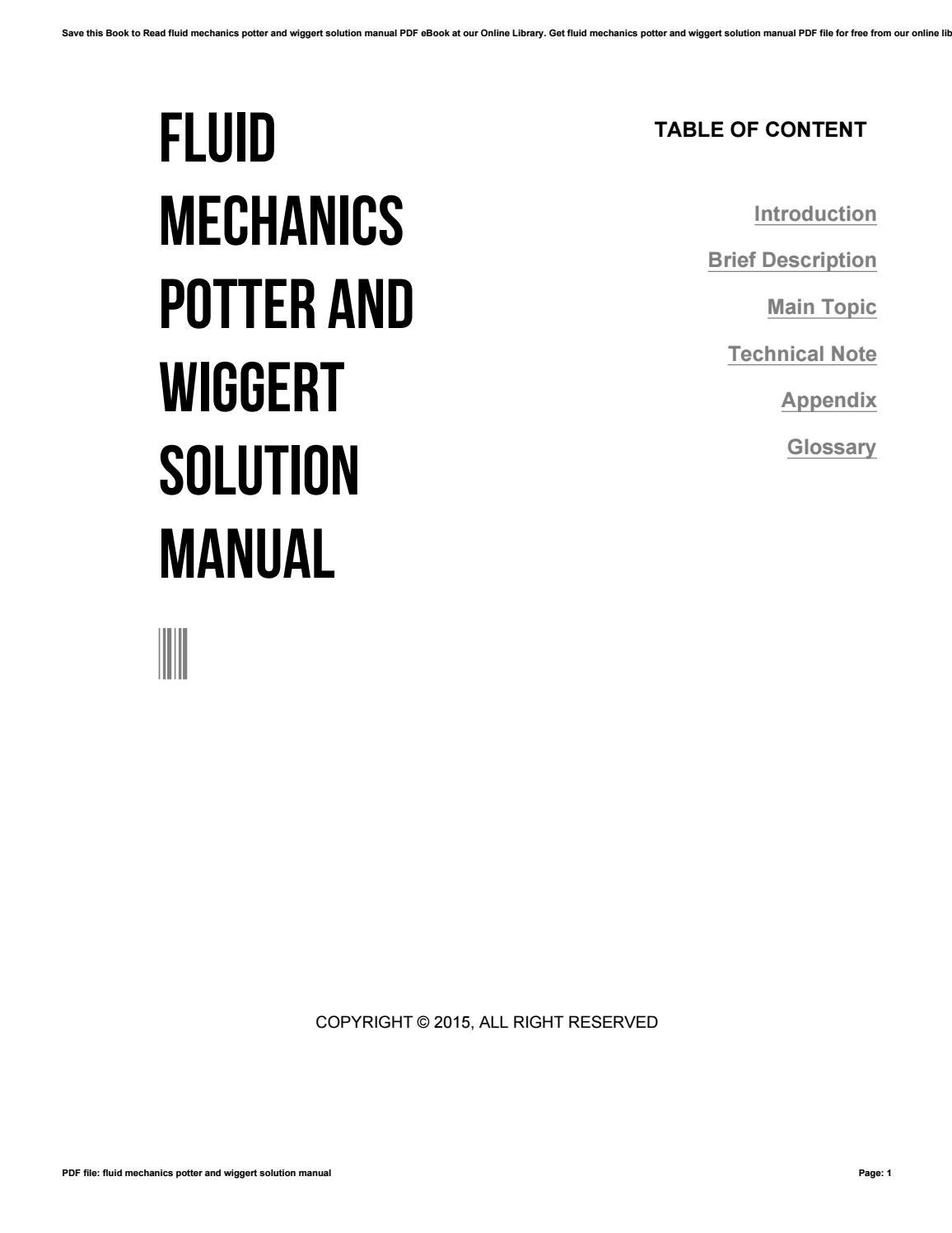 Fluid mechanics potter and wiggert solution manual by