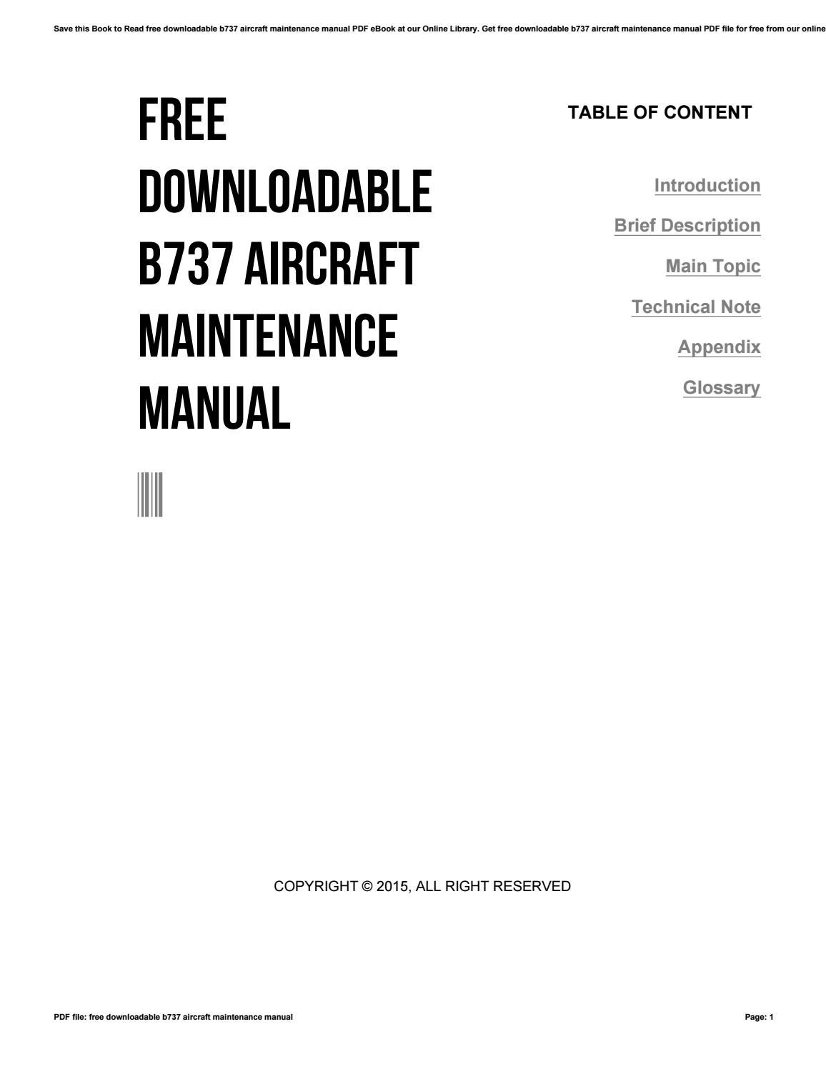 Free downloadable b737 aircraft maintenance manual by