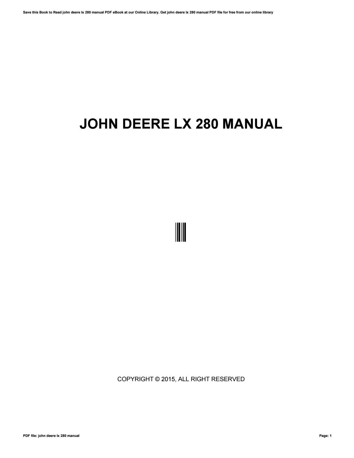 hight resolution of john deere lx 280 manual by c8163 issuu