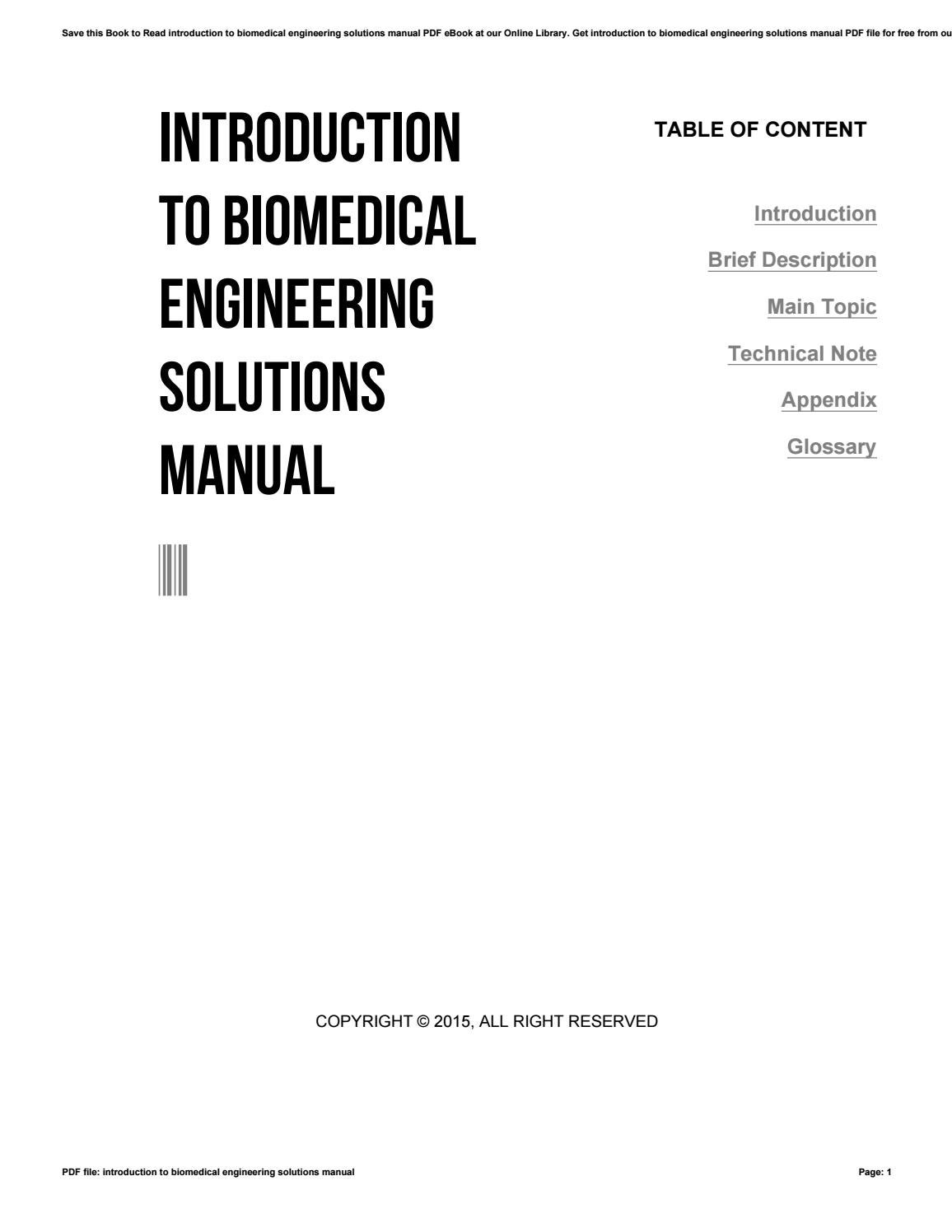 Introduction to biomedical engineering solutions manual by