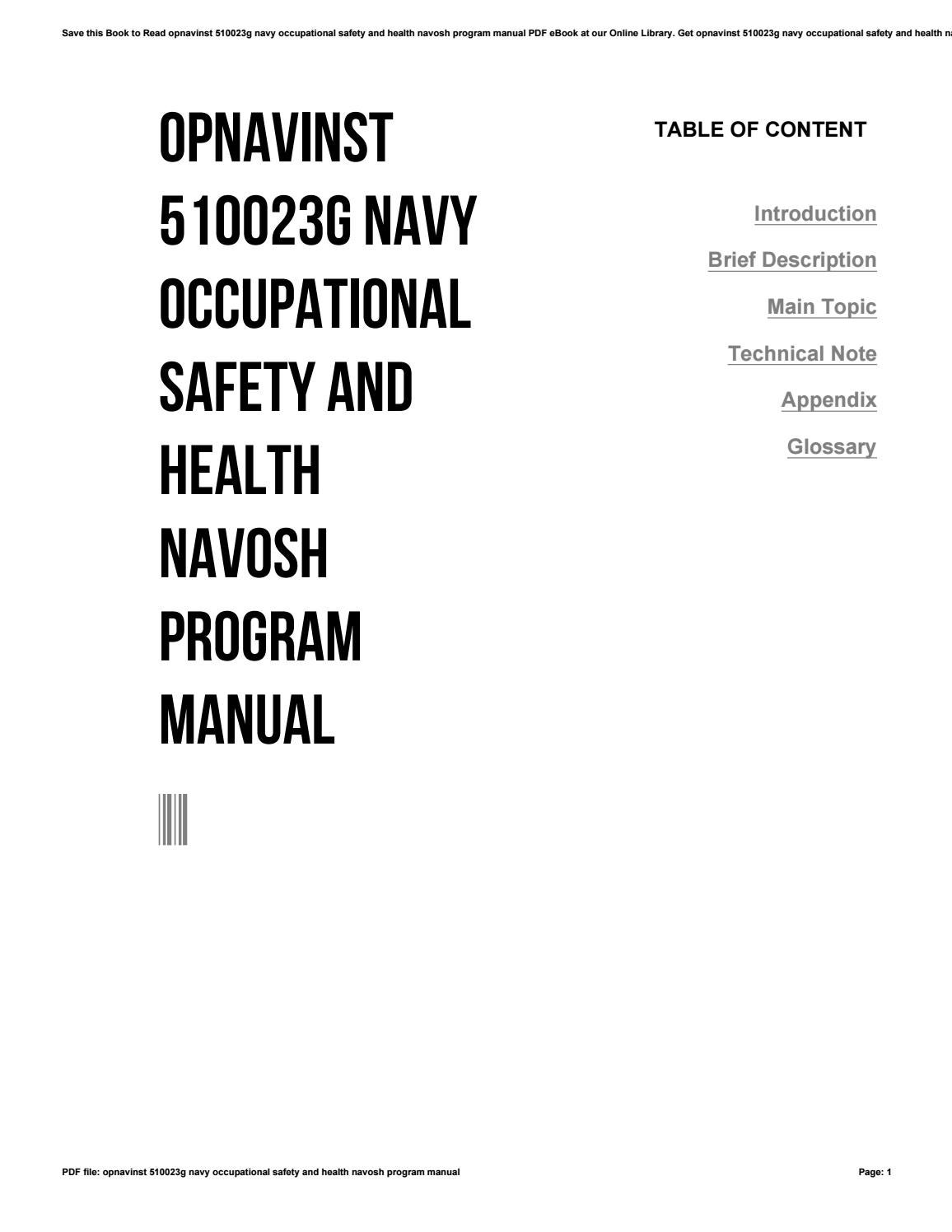 Opnavinst 510023g navy occupational safety and health