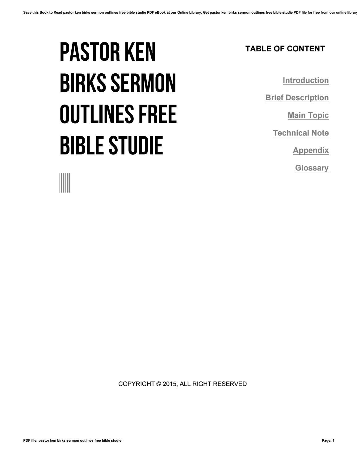 Pastor ken birks sermon outlines free bible studie by u333