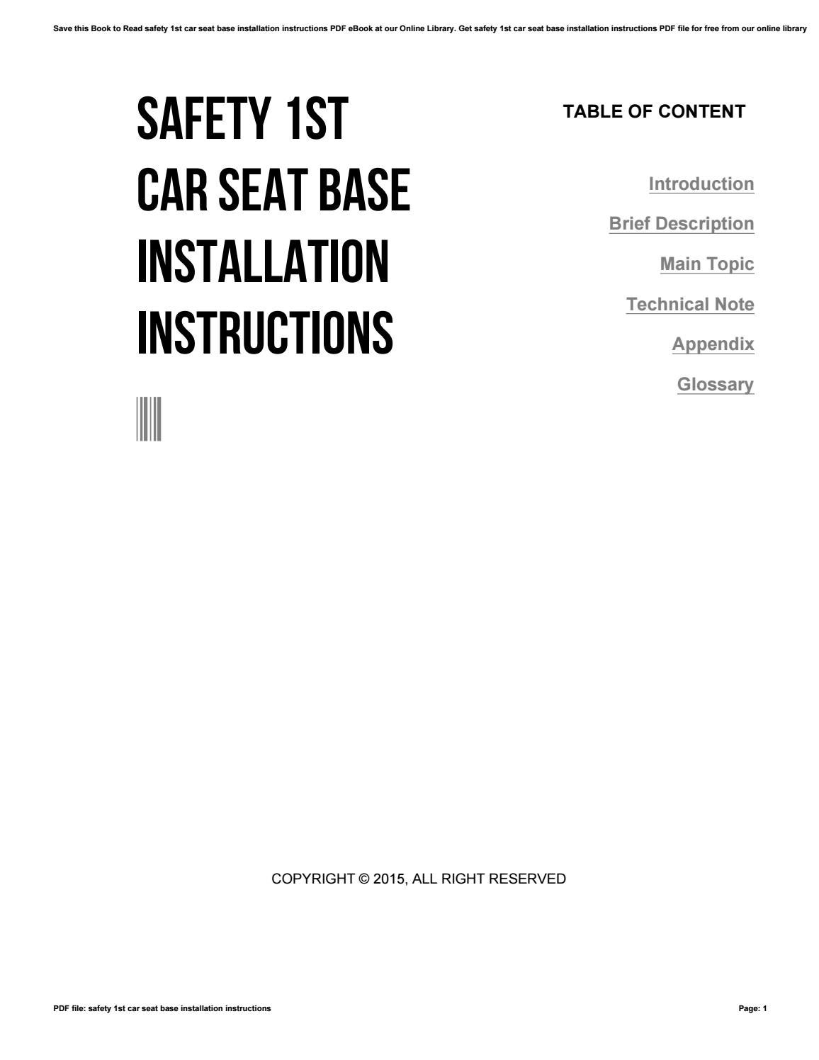 Safety 1st car seat base installation instructions by