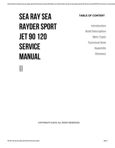 Sea ray sea rayder sport jet 90 120 service manual by