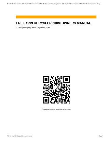Bestseller: 1999 Chrysler 300m Owners Manual Free