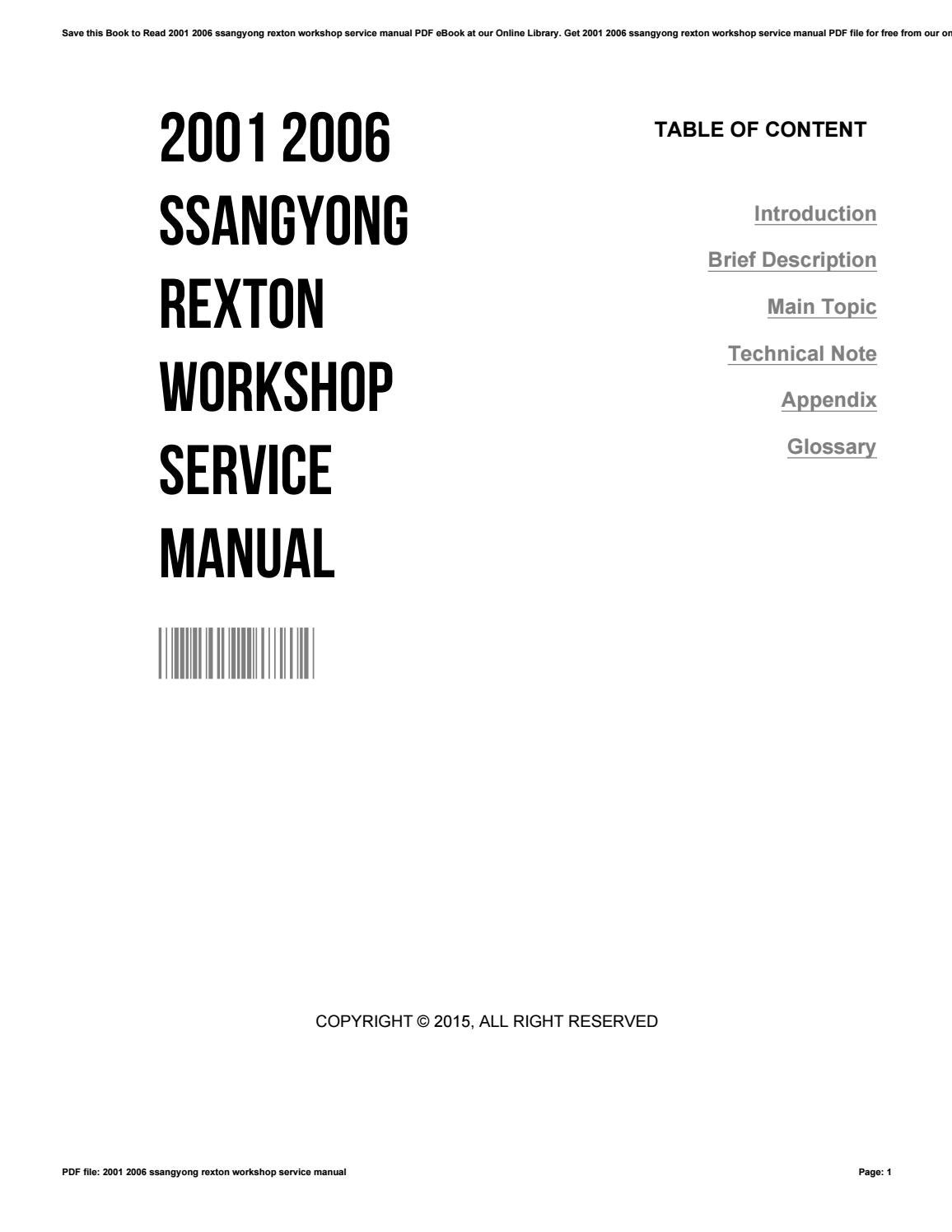 2001 2006 ssangyong rexton workshop service manual by