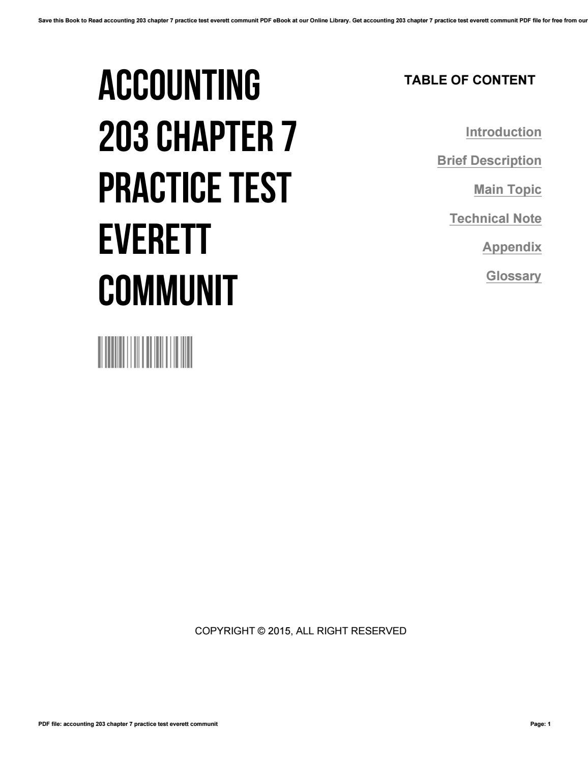 Accounting 203 chapter 7 practice test everett communit by