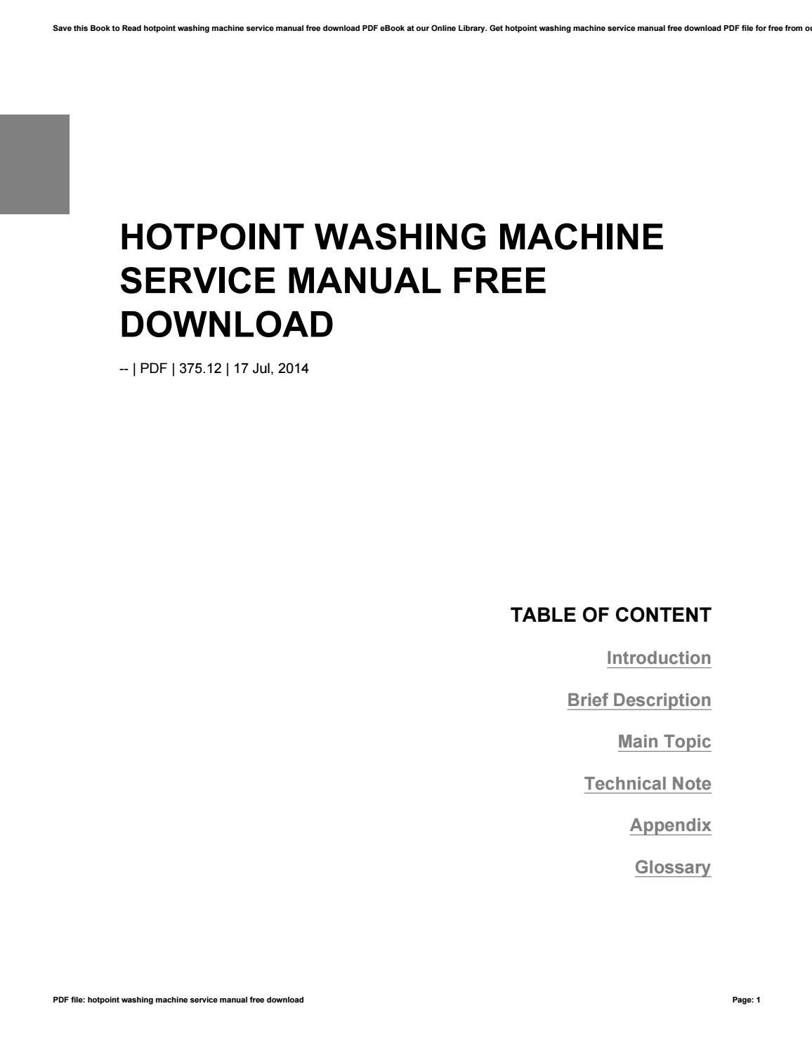 Hotpoint washing machine service manual free download by