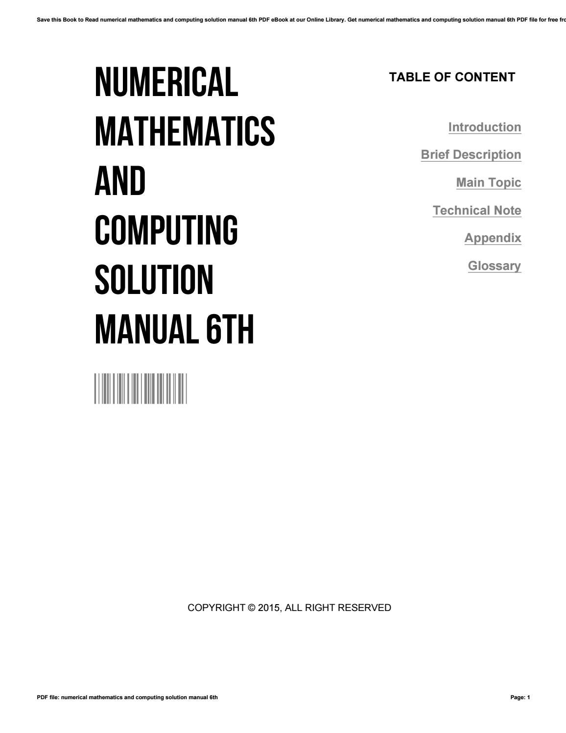 Numerical mathematics and computing solution manual 6th by