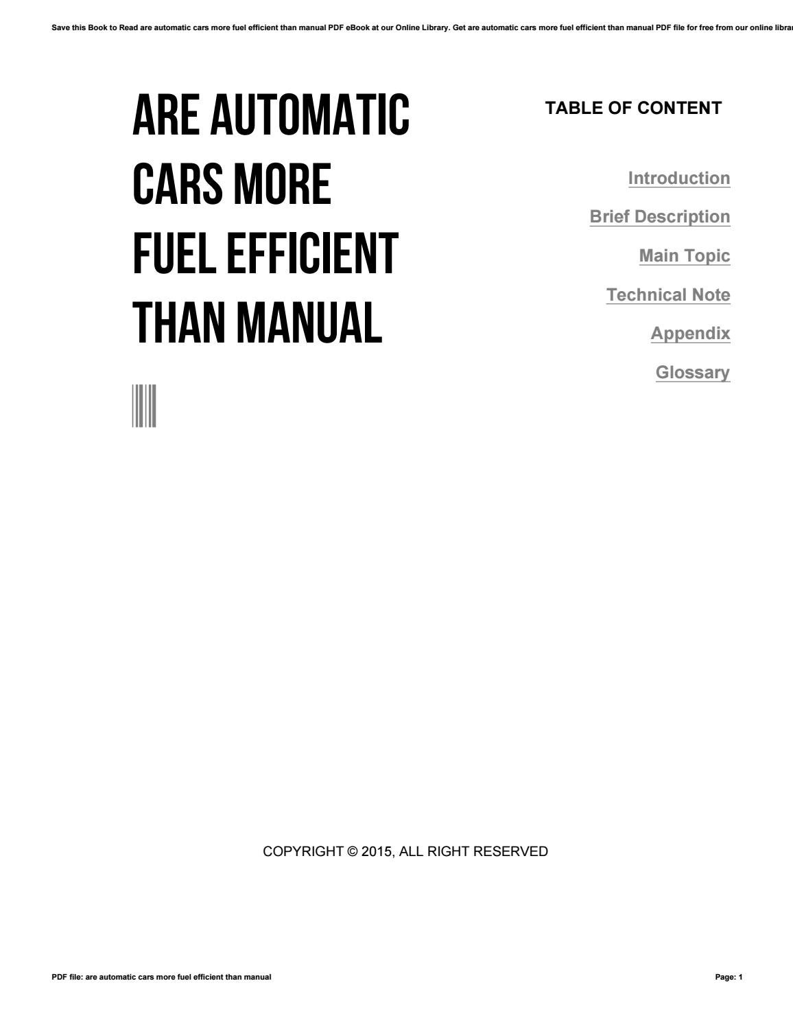 Are automatic cars more fuel efficient than manual by