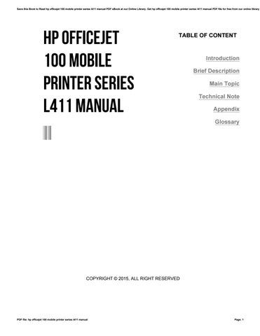 Hp officejet 100 mobile printer series l411 manual by
