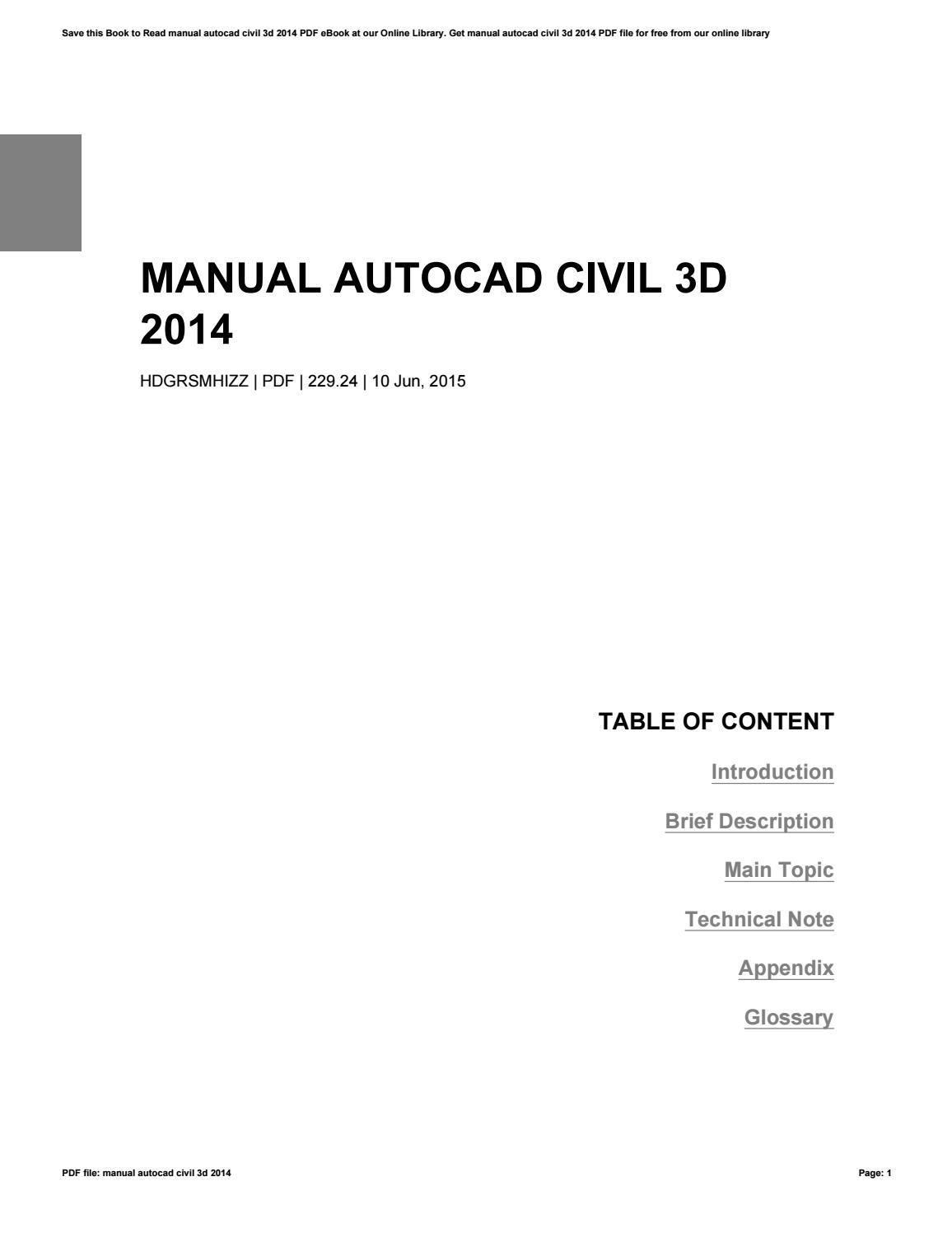 Autocad Civil 3d 2016 Tutorial Pdf Free Download