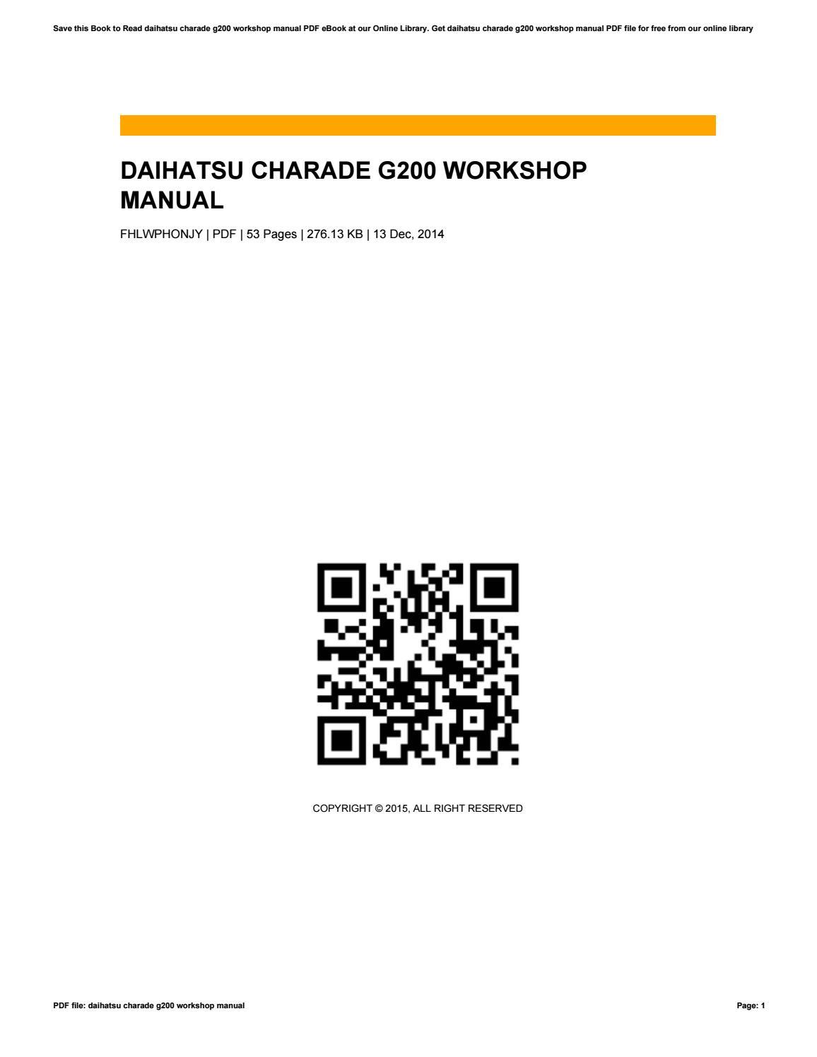 daihatsu charade g200 workshop manual