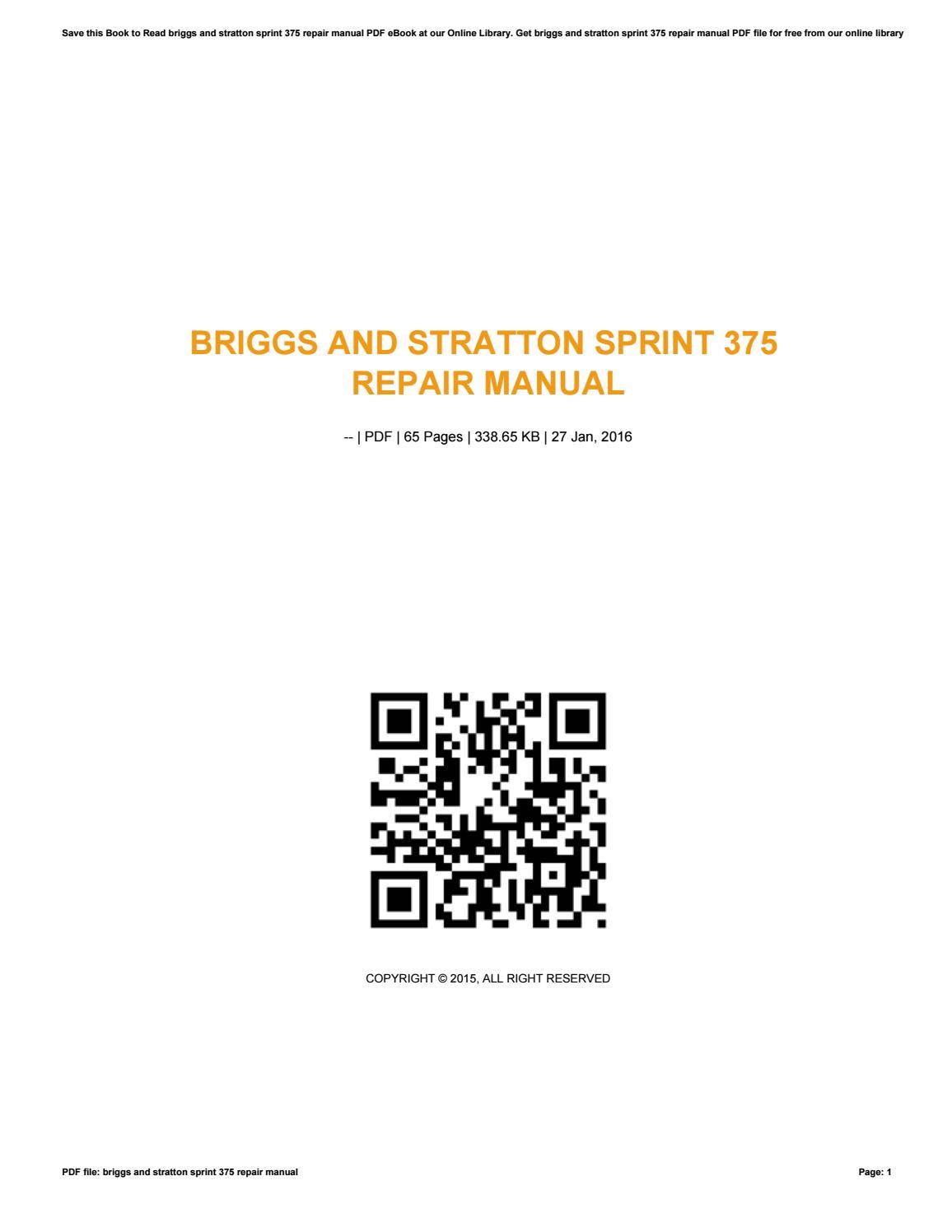 Briggs and stratton sprint 375 repair manual by malove170