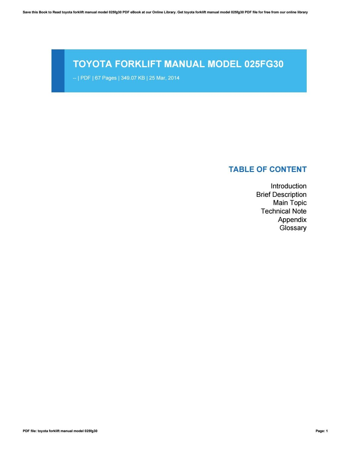 hight resolution of toyota forklift manual model 025fg30 by morriesworld81 issuu toyota forklift wiring diagram