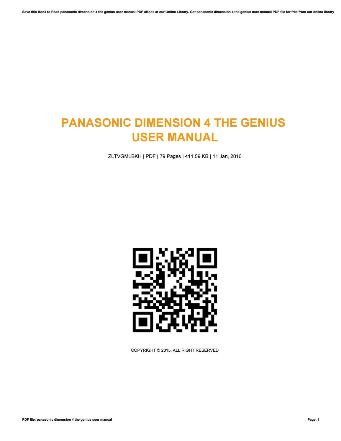 Panasonic dimension 4 the genius user manual by szerz65