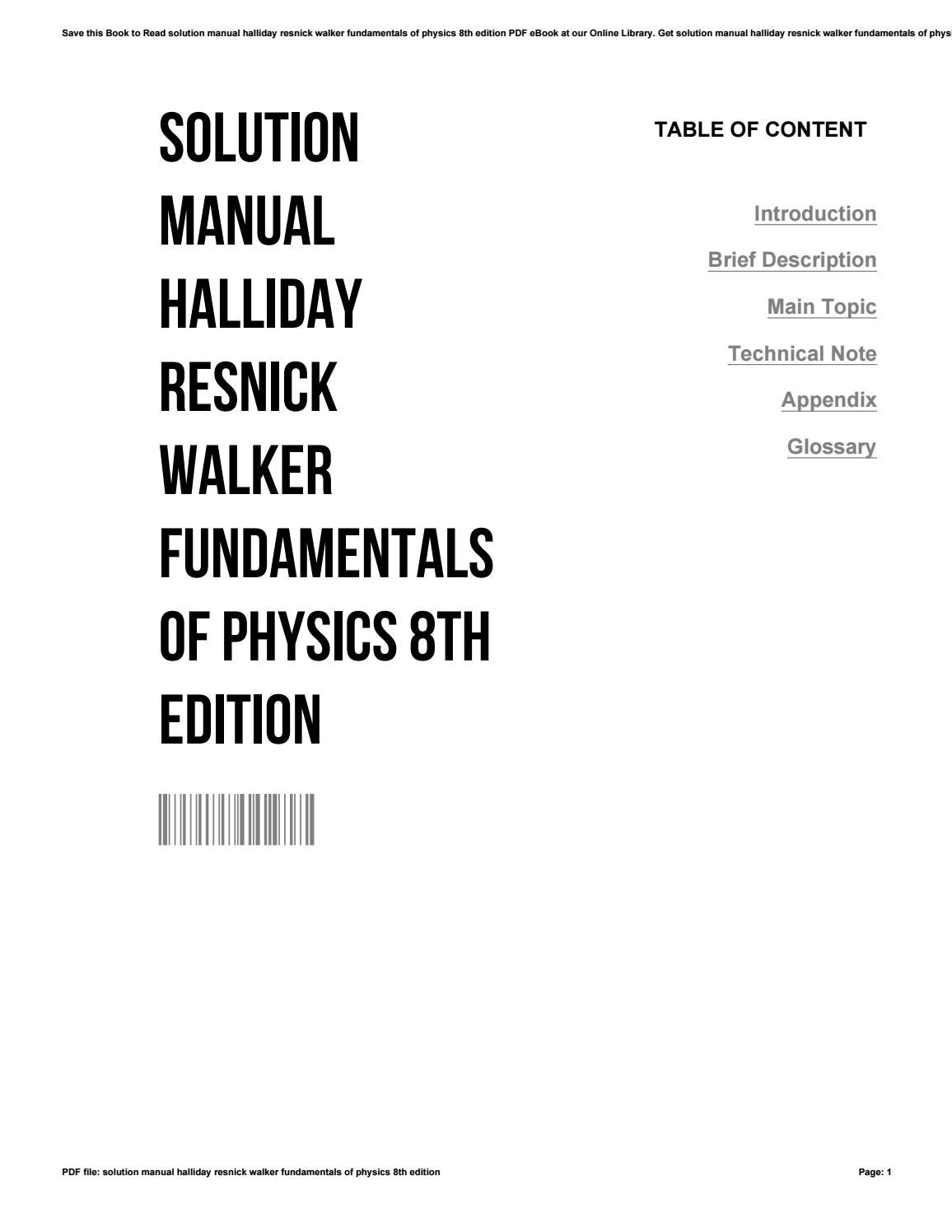 Solution manual halliday resnick walker fundamentals of