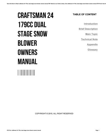 Craftsman 24 179cc dual stage snow blower owners manual by