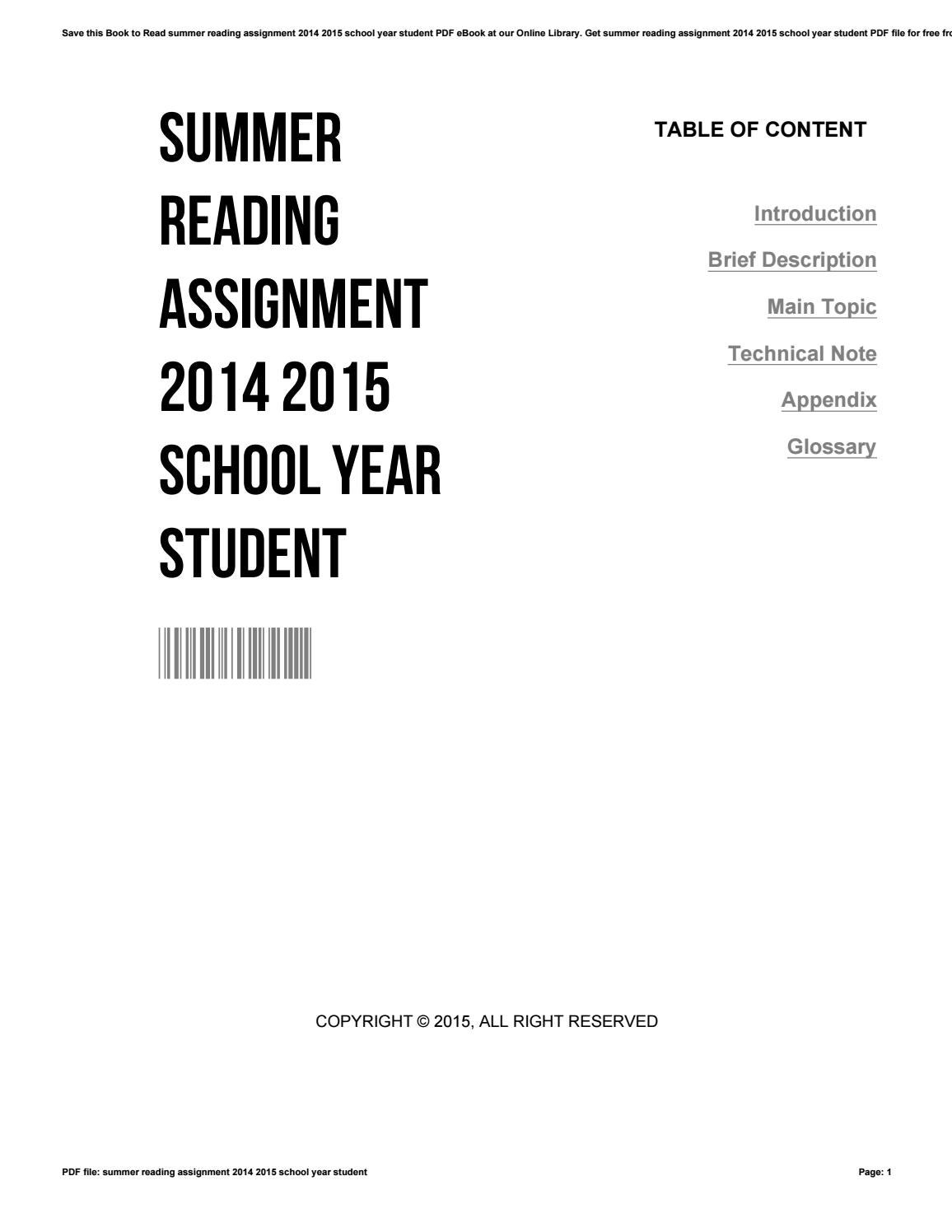 Summer reading assignment 2014 2015 school year student by