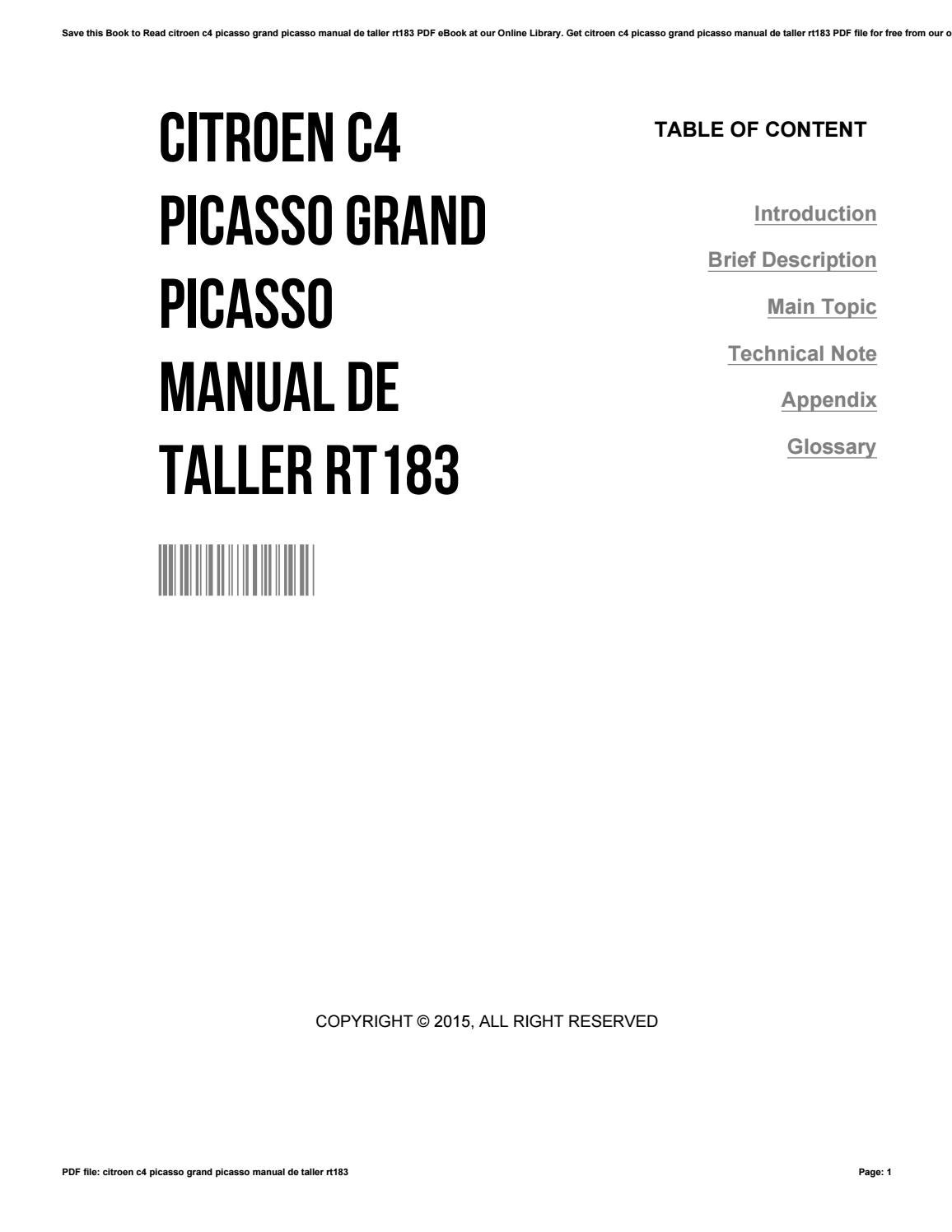Citroen c4 picasso grand picasso manual de taller rt183 by