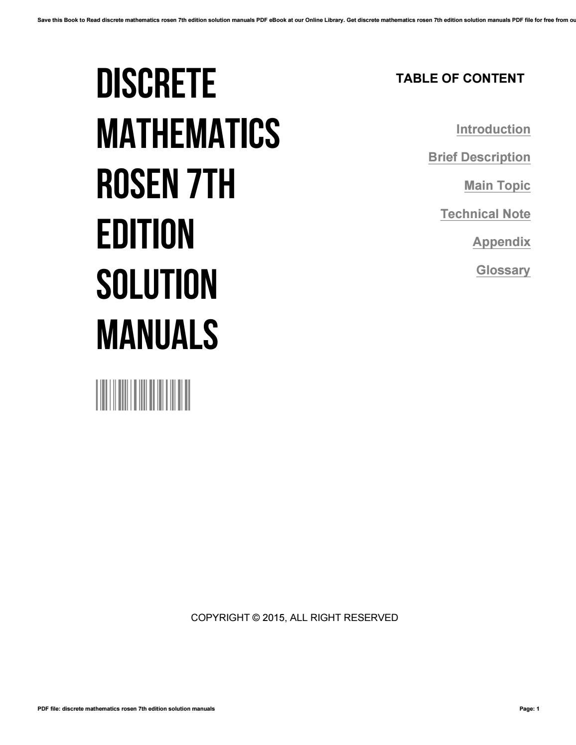 Discrete mathematics rosen 7th edition solution manuals by