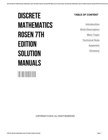 Discrete mathematics rosen 7th edition solution manuals by