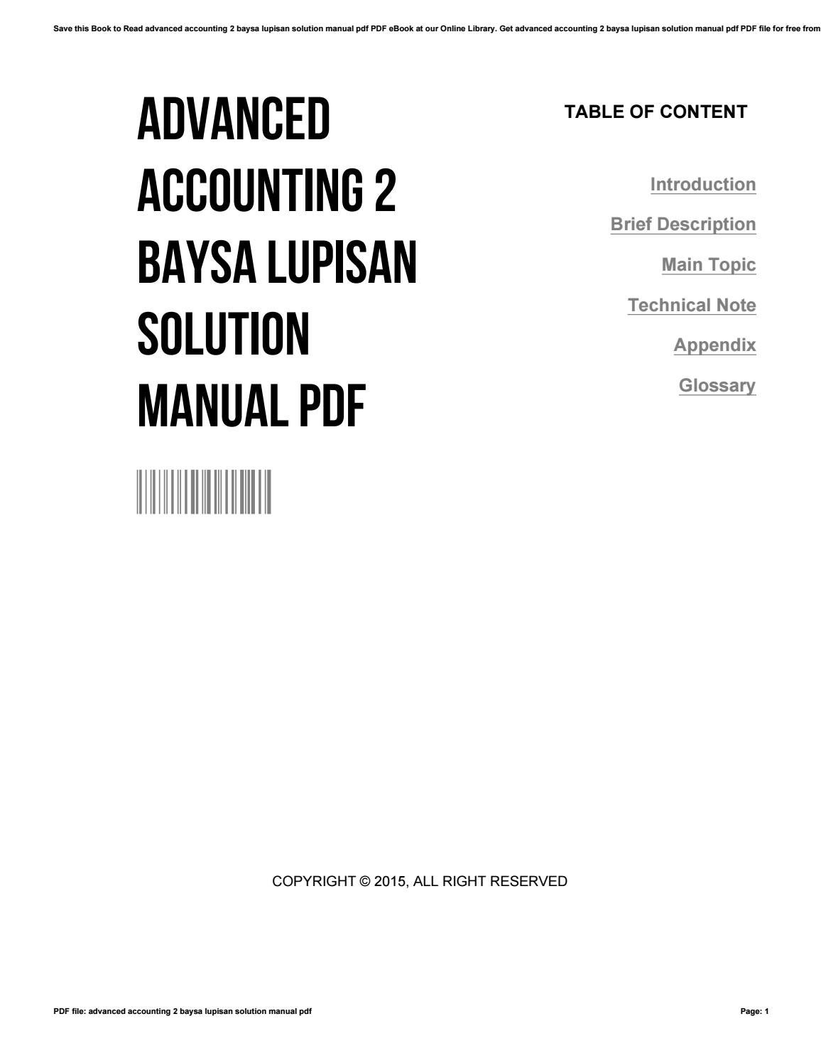 Advanced accounting 2 baysa lupisan solution manual pdf by