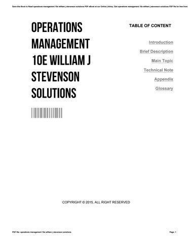 Operations management 10e william j stevenson solutions by