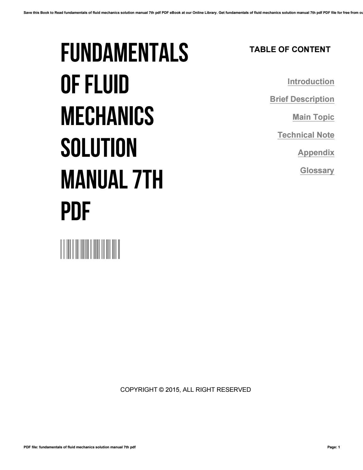 Fundamentals of fluid mechanics solution manual 7th pdf by